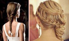 Wrap-around french braid & single fishtail braid for brides + wedding hairstyles
