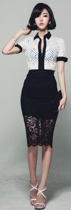 Luxe Asian Korean Women Fashion Color See Through White Blouse