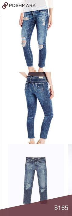 AG-ED Jeans Stilt Crop Distressed Jeans The stilt crop/cigarette crop in 11 years sail away color. Size 25R. New with tags. Ag Adriano Goldschmied Jeans Ankle & Cropped