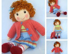 Belinda Jane doll knitting pattern - Pdf INSTANT DOWNLOAD - knitted toy doll