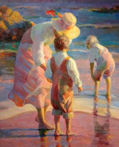 View this item and discover similar for sale at - Don Hatfield is one of America's leading Impressionist painters. Seaside Art, Beach Art, Paintings I Love, Beautiful Paintings, Art Paintings, Portrait Paintings, Painting People, Figure Painting, Figurative Kunst