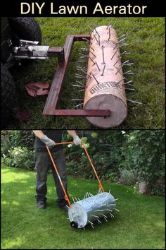 Let your lawn breathe with this DIY lawn aerator. Let your lawn breathe with this DIY lawn aerator. Lawn And Garden, Garden Tools, Herb Garden, Garden Art, Decorative Garden Fencing, Backyard Ideas For Small Yards, Pergola Pictures, Lawn Care, Backyard Landscaping