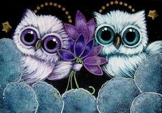 TINY ANGELS OWLS - VIOLET FLOWERS FOR YOU...FROM HEAVEN
