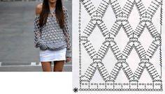 Oláá... Hoje trago para vocês um gráfico de uma blusa em crochê LIIIIINDA... Vi no facebook, quando uma amiga postou...