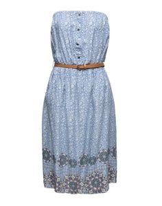 NEW LOOK Trägerloses Sommerkleid mit Gürtel 'Sienna Ethnic' hellblau