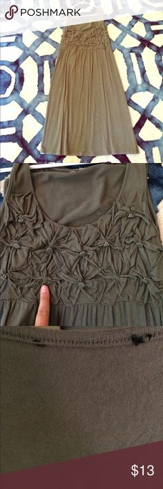 """Olive green/ brownish dress Well loved olive green/brownish dress. One missing button, but is not noticeable when wearing. Tag was removed because it was """"itchy"""". Dresses"""