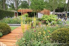The Homebase Garden - An Urban Retreat won a Gold Medal at the 2015 RHS Chelsea Flower Show. The garden was designed by Adam Frost. Garden Arbor, Garden Bridge, Contemporary Garden Design, Water Features In The Garden, Chelsea Flower Show, Colorful Garden, Outdoor Spaces, Entrance, Gardens