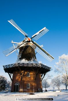 Windmill in Bad Zwischenahn, Deutschland Tilting At Windmills, Old Windmills, Le Moulin, Winter Scenes, Germany Travel, Architecture Details, Places To See, Netherlands, Beautiful Places