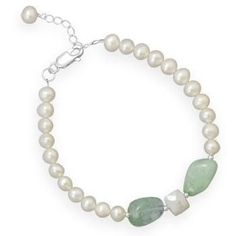 "7.5"" + 1"" Cultured Freshwater Pearl and Aquamarine Bracelet"