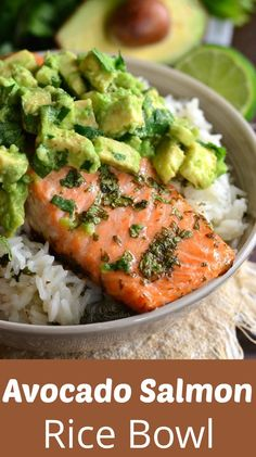 Beautiful honey, lime, and cilantro flavors come toget… Avocado Salmon Rice Bowl. Beautiful honey, lime, and cilantro flavors come together is this tasty salmon rice bowl. Crock Pot Recipes, Cooking Recipes, Cooking Hacks, Salmin Recipes, Whole30 Recipes, Steak Recipes, Chicken Recipes, Pescatarian Recipes, Healthy Chicken