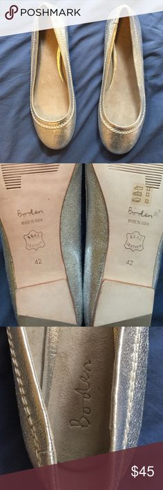 Silver metallic Boden flats Reposhing as they are a bit snug for my size 12 feet meaning -- they're listed as an 11 but shoes say 12. Silver metallic, round tie flats with white stitching. Made in India, authentic leather. NWOT Boden Shoes Flats & Loafers