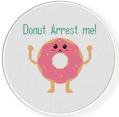 Donut Arrest Me Cross Stitch Pattern