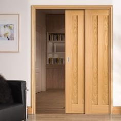 Twin Telescopic Pocket Idaho 3P Oak Veneer Doors.    #pocketdoors #telescopicdoors #hiddendoor #doors #doubledoors #moderndoors #doors #interiordesign