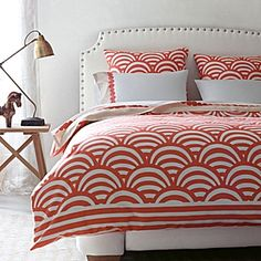 Coral Lamu Duvet & Sham #serenaandlily.  Possible bedding for guest room.  Looks good with grey.  Love the pop of color with a neutral background