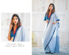 .Blue cotton saree Sexy Blouse, Saree Blouse, Blouse Desings, Formal Saree, Modern Saree, Blue Saree, Traditional Wedding Dresses, Elegant Saree, Handloom Saree