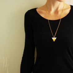 Items similar to Geometric ceramic triangle pendant with long chain, long necklace with triangle, two color, mustard yellow and white on Etsy Ceramic Jewelry, Mustard Yellow, Triangle, Ceramics, Free Shipping, Chain, Pendant, Trending Outfits, Unique Jewelry