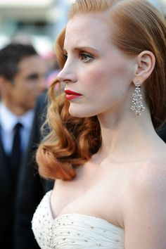 Jessica Chastain on the 65th Cannes Film Festival red carpet wearing Chopard Friday 18th May 2012
