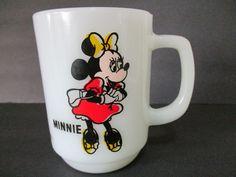 Vtg Minnie Mouse Cup Mug Walt Disney Cartoon Milk Glass USA Pepsi Red Dress #WaltDisneyProductions