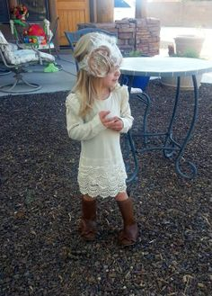 Love this Dress and Headband by Avry Couture Creations (http://www.avrycouturecreations.com/childrens-beige-lace-dress/)