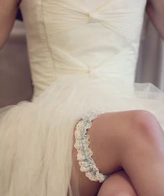 Blue Wedding Garter Luxury silk and Nottingham Lace by Annadsouza, £36.00