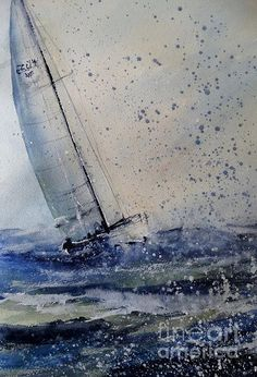 Wednesday Evening Sail Art Print by Sandra Strohschein. All prints are professionally printed packaged and shipped within 3 - 4 business days. Choose from multiple sizes and hundreds of frame and mat options. Watercolor Water, Watercolor Landscape, Watercolor Paintings, Sailboat Painting, Boat Art, Nautical Art, Sailing, Fine Art, Sailboats