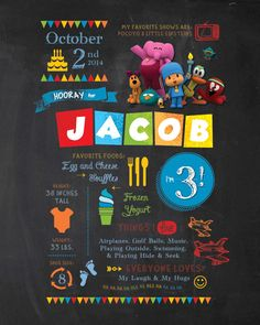 This is a listing for a Pocoyo Chalkboard inspired poster! Its the perfect centerpiece for your childs event!!! The size options for this design