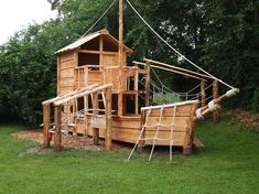 Spielschiff aus Holz 1 - All For Garden Backyard Treehouse, Backyard Fort, Backyard Playground, Backyard For Kids, Wood Playground, Bell Tent Camping, Yacht Builders, Tree House Designs, Outdoor Play