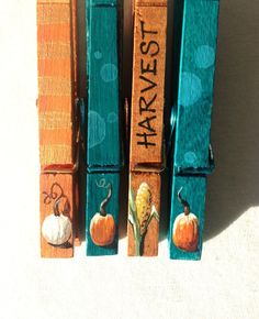 THANKSGIVING CLOTHESPINS teal and orange hand painted magnetic pegs by SugarAndPaint on Etsy