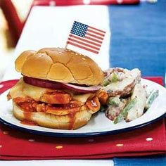 This recipe yields slow-cooked barbecue flavor in less than an hour. The sandwiches need to be broiled at the last minute, but the rest of the menu can be made ahead of time.