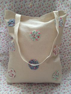 Handmade Suffolk Puff Tote Bag, great for shopping.  Pop by Crafty Items Designed on facebook for more...