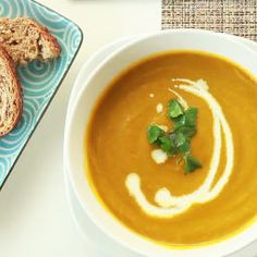 Find healthy and delicious carrot soup recipes, including fresh carrot and coriander soup, carrot and potato soup, carrot and ginger soup and more. Carrot And Corriander Soup, Corriander Recipes, Coriander Soup, Carrot And Coriander, Carrot Soup, Fresh Coriander, Veggie Recipes, Soup Recipes, Cooking Recipes