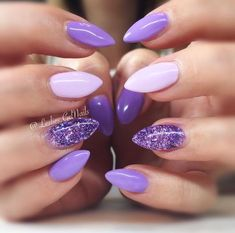 Purple wedding nails, purple gel nails, lilac nails with glitter, purple na Blush Nails, Purple Gel Nails, Purple Nail Art, Purple Nail Designs, Glitter Manicure, Pastel Purple, Lilac Nails With Glitter, Gel Manicure, Pastel Colors