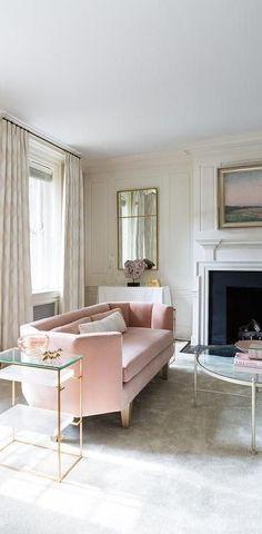 blush pink sofa glam gold
