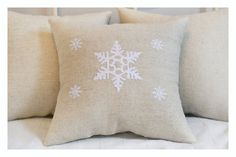 Snowflake pillow  Embroidered Christmas pillow by KoTshop on Etsy, $30.00
