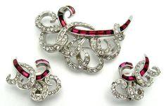 BOUCHER Swirl Set Brooch Pin Earrings 1950s Beautiful Red Baguettes! #Boucher #BroochPinClipEarrings