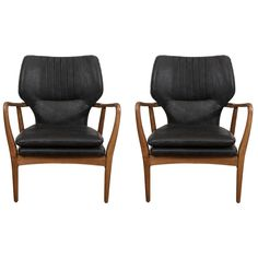 Pair of Bovenkamp Leather Lounge Chairs by Aksel Bender Madsen | From a unique collection of antique and modern armchairs at https://www.1stdibs.com/furniture/seating/armchairs/