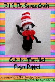 DIY Dr. Seuss Craft Kits - cat in the hat finger puppet