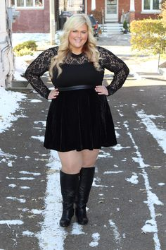 Junarose Flared Mixed Media Skirt Alyssa Lace Leotard Plus Size Skirts Plus Size Bodysuits 3. Featured on Killer Kurves.