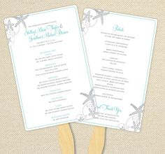 DIY Custom Wedding Program Fan  Starfish and by sheilamaridesign, $40.00