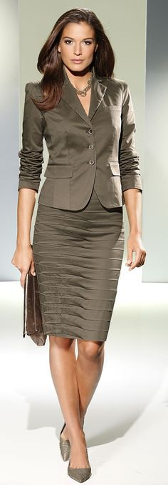 Taupe business suit.
