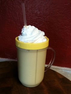 3WWp+ Homemade Frappuccino Recipe  Fill a tall magic bullet cup with ice, put in about 2.5 tbs of pudding mix, 1/2 cup of strong brewed coffee and top it off to the brim with milk (any kind) blend until you don't hear ice anymore. Can top with whipped cream