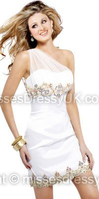 Sheath/Column One Shoulder Satin Short/Mini White Beading Cocktail Dress