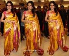 Sari Style- Samantha Ruth Prabhu At South India Shopping Mall Launch-1