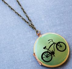 vintage bicycle brass art locket