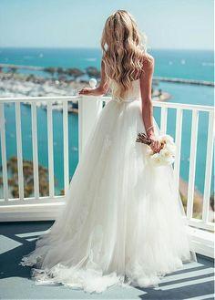 Glamorous A-line Wedding Dress, Tulle Wedding Dress, Spaghetti Straps Neckline With Lace Appliques Wedding Dress, Backless Wedding Dress, Beach Wedding Dress