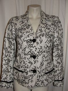 CHICO'S Linen Weave Black Wht Notched Lapels LS Jacket Lined Pockets Sz S (0) #Chicos #BasicJacket