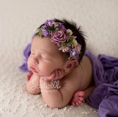 """Deluxe Floral Newborn HeadbandThis item is ready to ship.If you purchase with something that says """"made to order"""" it will ship together with that item."""