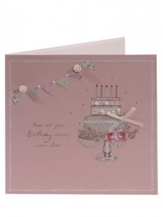 Cake on Pink B/G Birthday Card