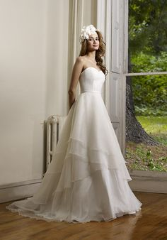 Strapless organza mulit layer ball gown with matte satin waistband | Echo by Robert Bullock |  http://trib.al/7o4MJvv
