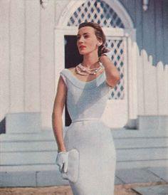 Dove Tale • 1950s Knitting Dress Wedding Bridal Engagement Shift • 50s Vintage Vogue Pattern • Retro Women's Knit Digital PDF